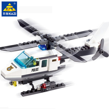 цена на 102Pcs City Police Helicopter Model Building Blocks Sets Airplane DIY Creator Bricks Educational Toys For Children