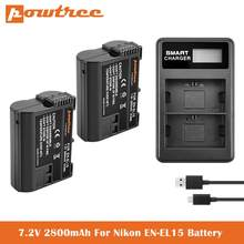 7V 2800 мА/ч, EN-EL15 EN-EL15A Батарея Зарядное устройство для Nikon d750, d7200, d7500, d850, d610, d500, MH-25a, d7200, z6, d810 батареи