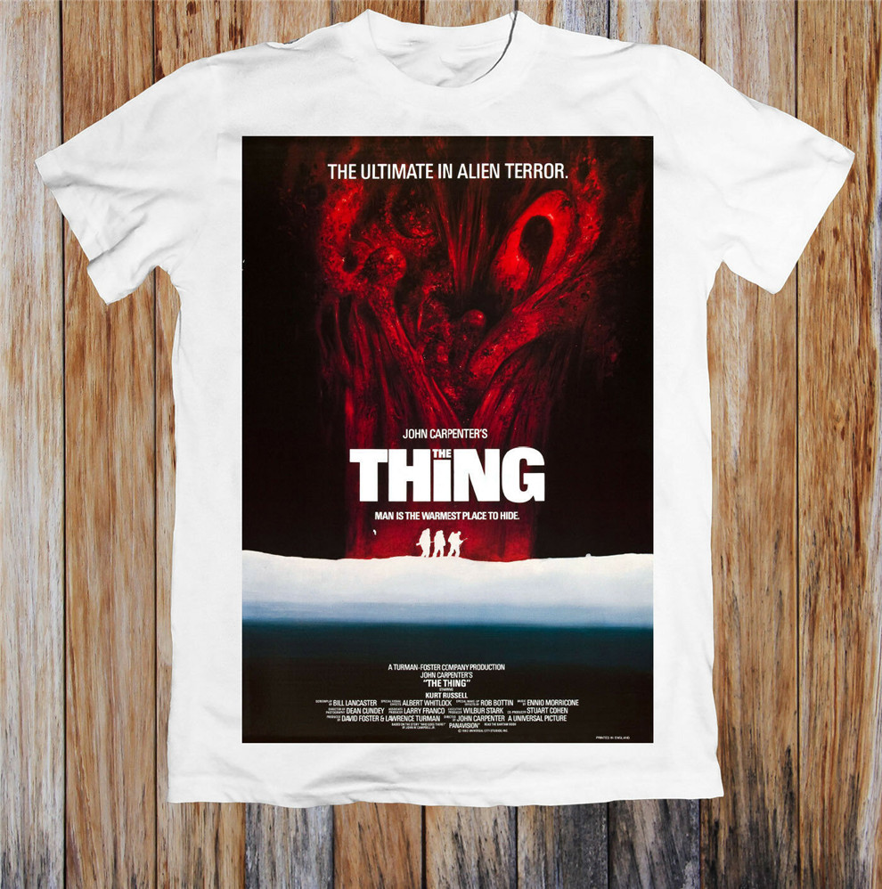 The Thing 1980S Retro Movie Poster Unisex T Shirt Loose Size Tee Shirt image