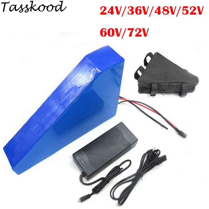 E-Bike Triangle 24V 36V 48V 52V 60V 72V 15Ah 20Ah 25AH 30AH Lithium Battery Pack for Scooter Motorcycle and ebike