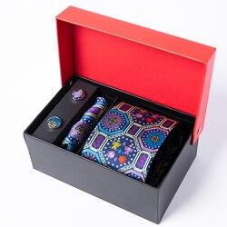 Мужской набор шелковых галстуков ogga в китайском этническом стиле, ретро жаккард, 155*8 см и 30*30 см, карманные квадратные и запонки, мужской пода...
