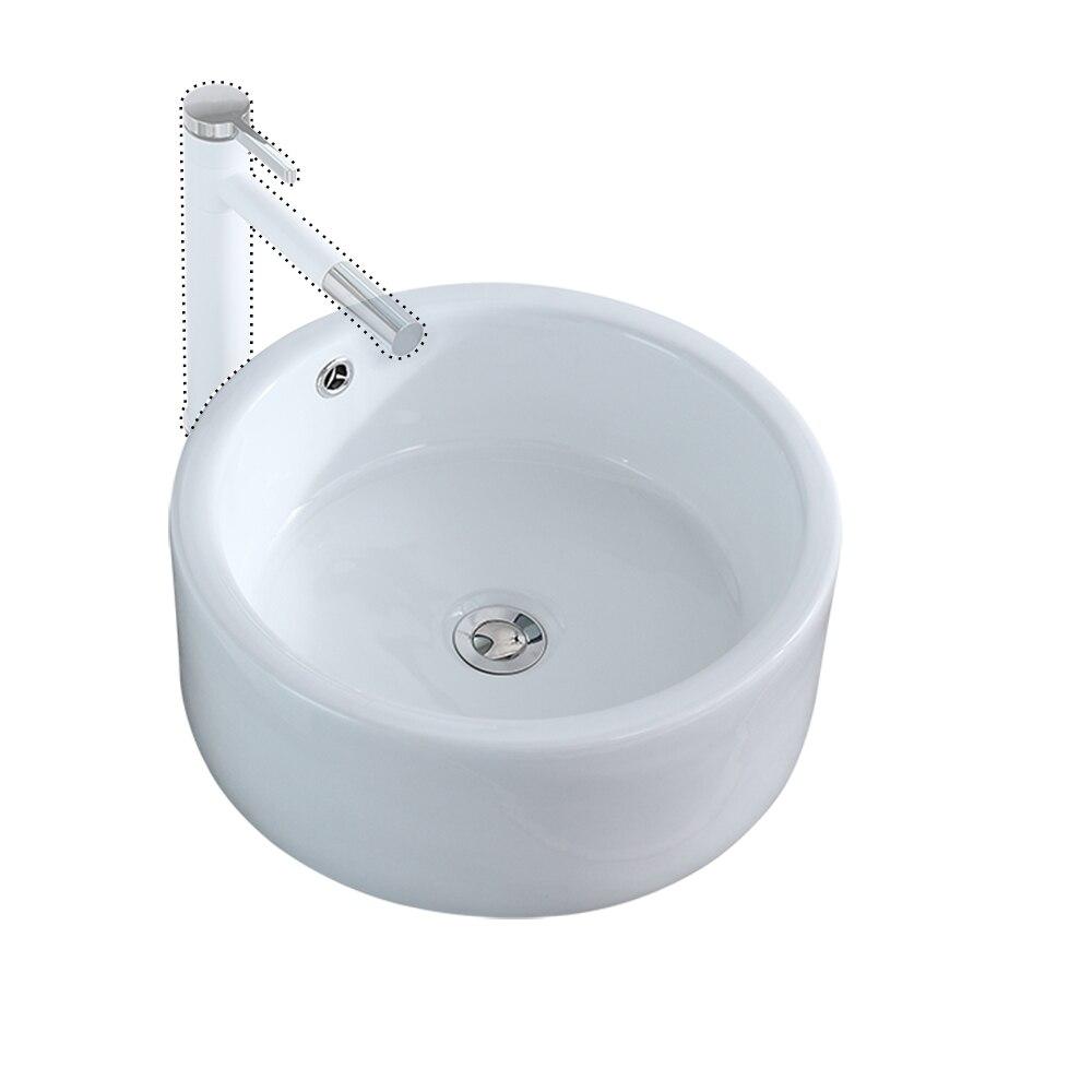 Ванная комната над столешницей круглый стиль керамический сосуд раковины художественный Умывальник белый фарфор с поп ап стопор слива