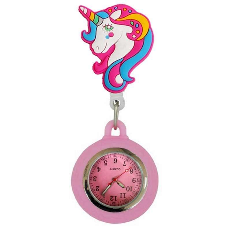 Animal de bande dessinée coloré rétractable Badge bobine infirmière FOB montres de poche tournesol licorne sourire femmes dames médecin montres