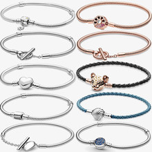 Charms 925 Sterling Solid Silver Bracelet Heart T-Bar Snake Chain Sparkling Blue Disc Clasp Snake Chain Bracelet Women Jewelry