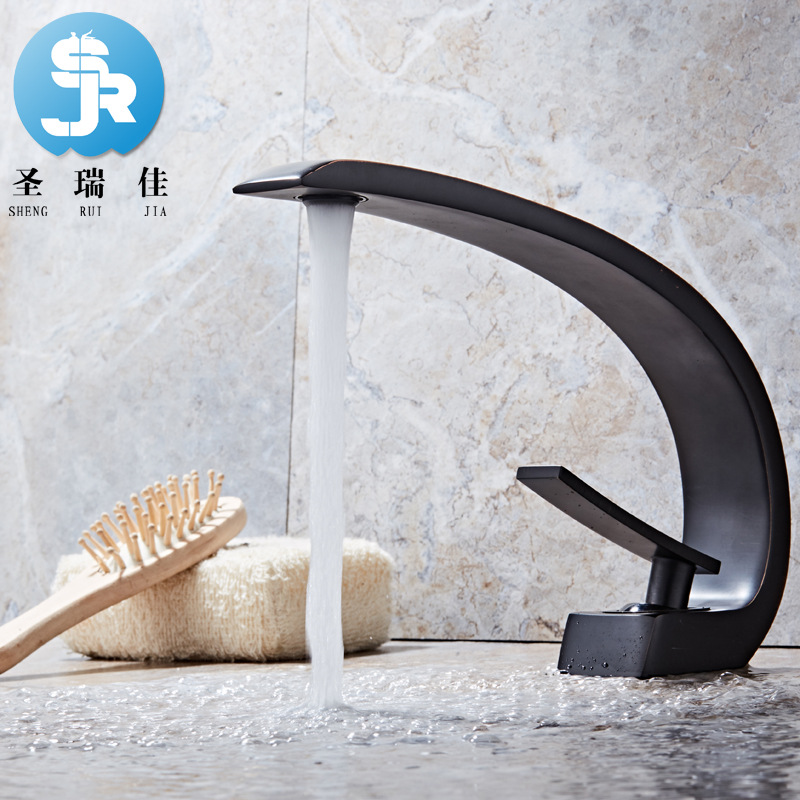 Shengruijia European Style Creative Black Bronze Cold Basin Faucet Inter-platform Basin Black And White With Pattern Vintage Wat