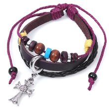 Jewelry Processing Religious Cross Bracelet Christian Ornament Leather Rope Bracelet()