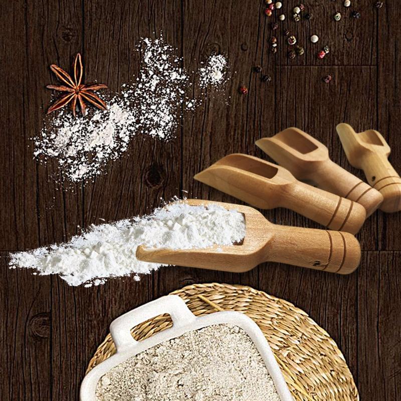 Japan Style Salt Spoons Eco-Friendly High-Quality Mini Wooden Scoops Bath Salt Spoon Candy Flour Spoon Scoops Kitchen Utensils