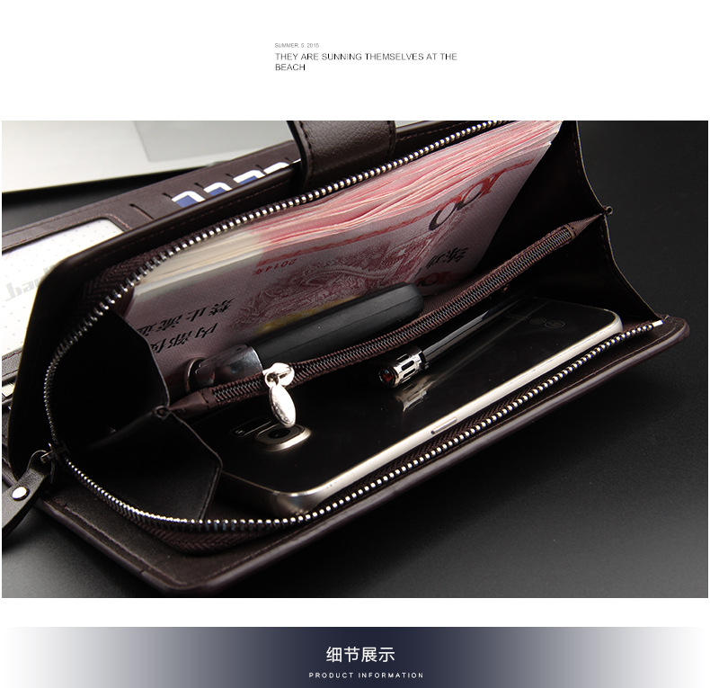 Baellerry Men Wallets Long Style High Quality Card Holder Male Purse Zipper Large Capacity Brand PU Leather Wallet For Men