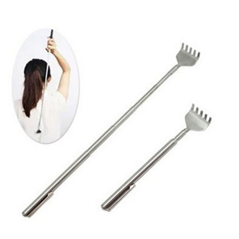 Back Scratcher Massager Stainless Steel Portable Telescopic Adjustable Size Back Itch Scratcher Pen Clip Massage Tool Heath Care