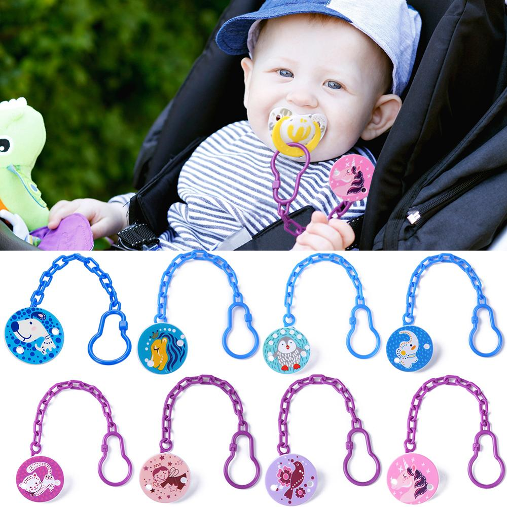 Cartoon Animal Printed Baby Pacifiers Chain Infant Nipple Clips Kids Pacifier Safety Clamp Hanging Leashes Soother Teether Chain