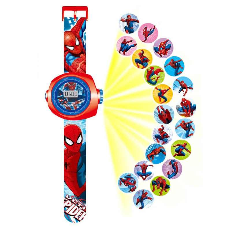 Prinses Elsa Spiderman Kids Horloges Projectie Cartoon Patroon Digitale Kinderen Horloge Voor Jongens Meisjes Display Klok Relogio