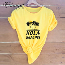 Elimiiya S-5xl HOLA Beaches Print T shirt Women Fashion T-Sh