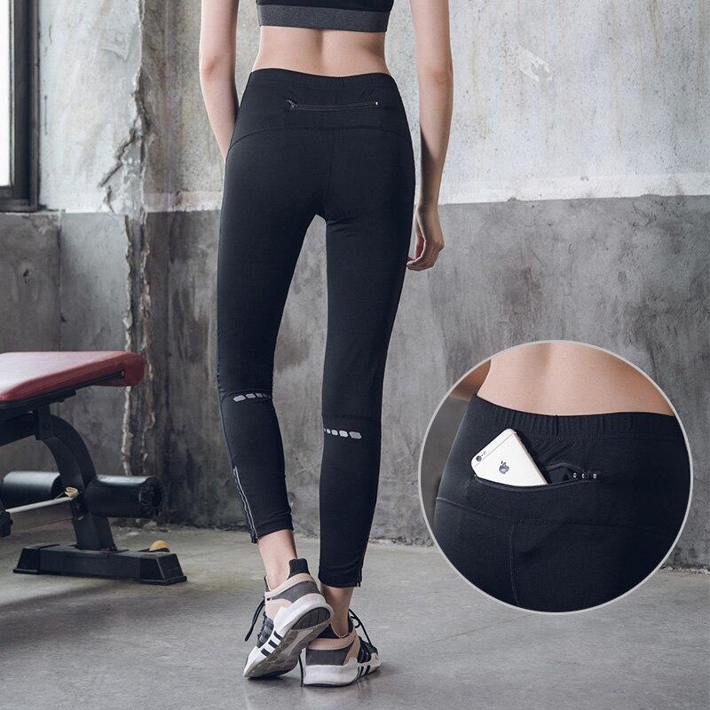 Jessingshow High Waist Leggings Push Up Sports Women Zip Pocket Reflective Stripe Fitness Running Jogger Pants Skinny Leggings