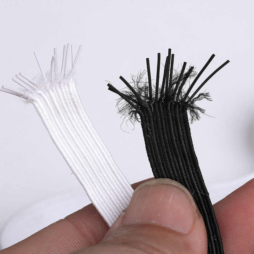 5/10 metros bandas elásticas cuerda elástica 3/6/8/10/12mm banda de cordón de goma elástica accesorios de costura de ropa cuerda elástica blanca 5z