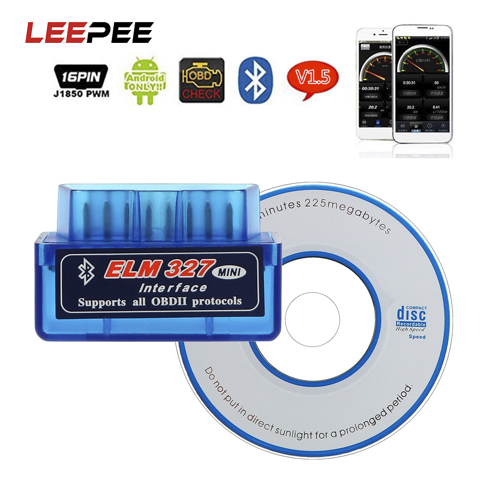LEEPEE For Android/Symbian Car Diagnostic Tool For OBDII Protocol ELM327 <font><b>Bluetooth</b></font> V2.1 / V1.5 OBD2 Code Readers Scan Tools image