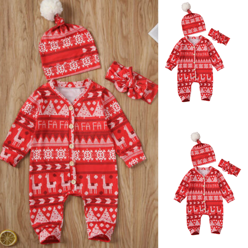 3Pcs Newborn Baby Boy Girl Tops Romper Bodysuit Jumpsuit Pants Outfits Clothes