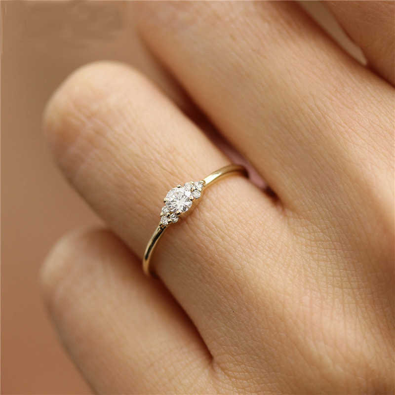 Dainty Zircon Crystal Rings for Women Girls Simple Wedding Rings Charm Lover Couple Ring Finger Jewelry Anillos Mujer Gift