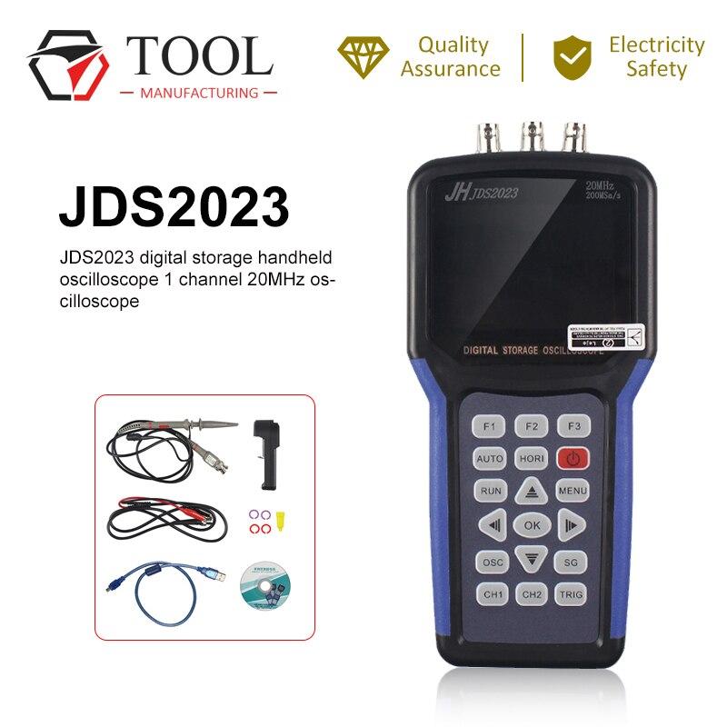 Osciloscópio de armazenamento digital handheld jinhan jds2023 osciloscópio 1 canais 20 mhz ac/dc acoplamento de entrada digital portatil