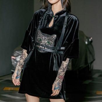 Rosetic-Vestido corto femenino de terciopelo con bordado para verano, traje estilo gótico Vintage para mujer, estilo Preppy, 2021
