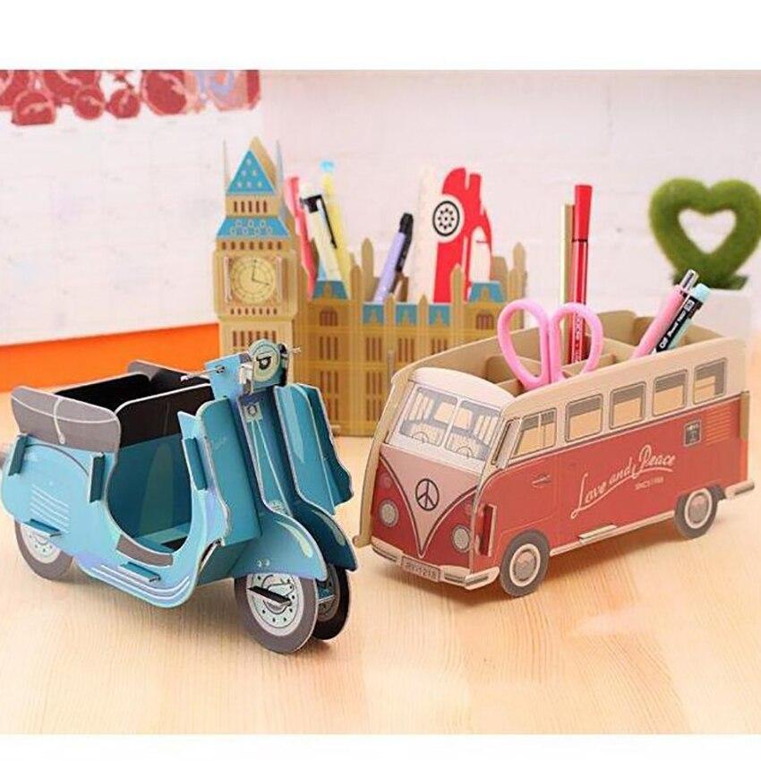 DIY Cardboard Pen Holder Desk Pencil Storage Container Home Office Decoration -Piano, Blue Locomotive, Red Bus, Big Ben, Bus