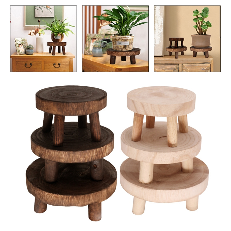 Solid Wood Round Bench Flower Pot Holder Plant and Succulent Flower Pot Base Display Stand Stool Home Garden Patio Decor