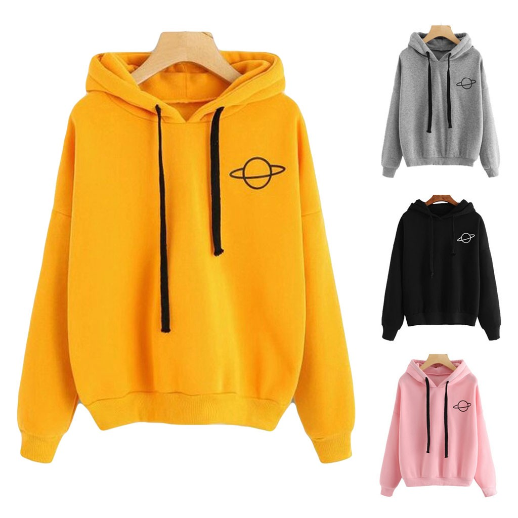 Women Hoodies Casual Kpop Planet Print Solid Loose Drawstring Sweatshirt Long Sleeve Hooded 2019 Autumn Female Pullover