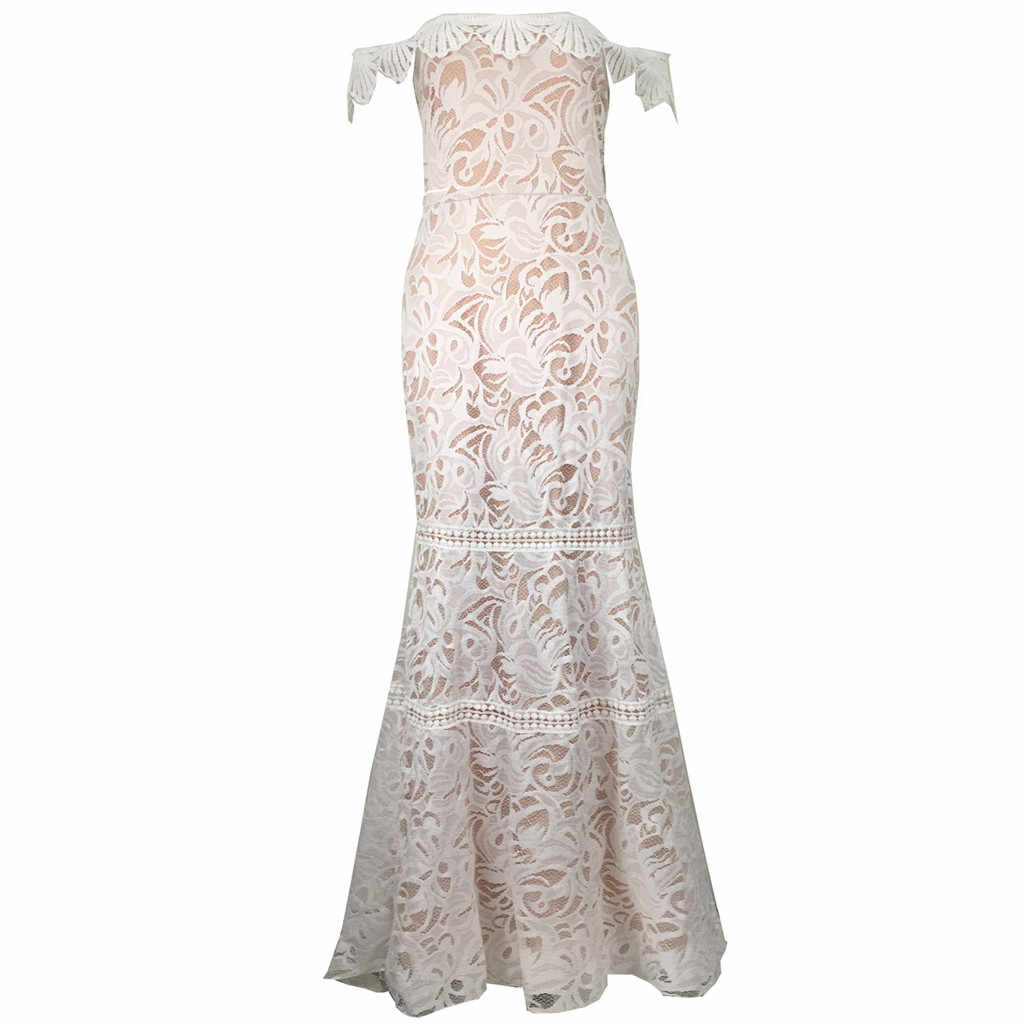 Sexy Wedding Evening Party Dress Women Sexy Strapless Lace Embroidery White Dress Elegant Long Dresses Vestido Mujer Winter Robe