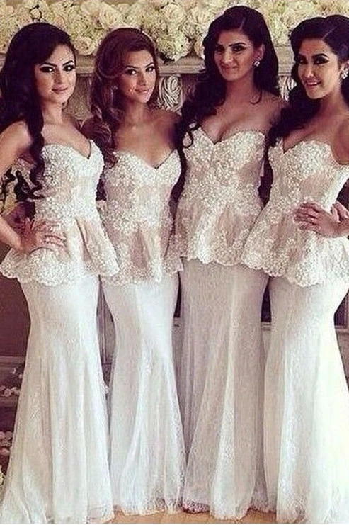 Mermaid Lace Bridesmaid Dresses Ivory V-neck Sleeveless Long Wedding Guests Dress Vestido Dama De Honor