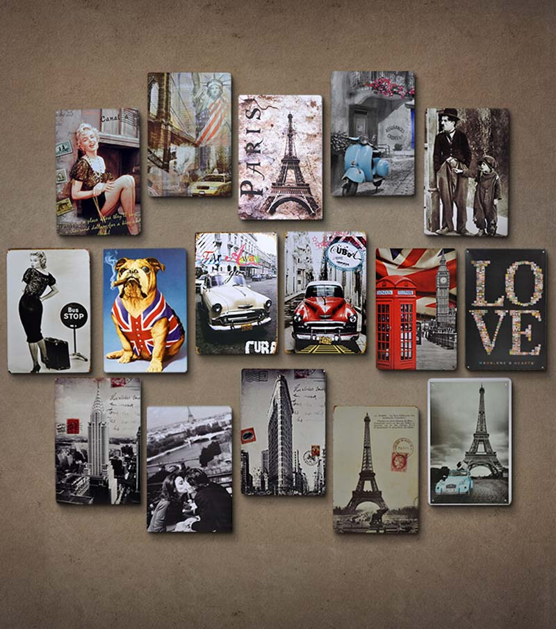 Metal Sign Retro Nostalgic Iron Painting License Plate Wall Bedroom Pendant Wall Bar Creative Wall Decoration Room Wall Decorati