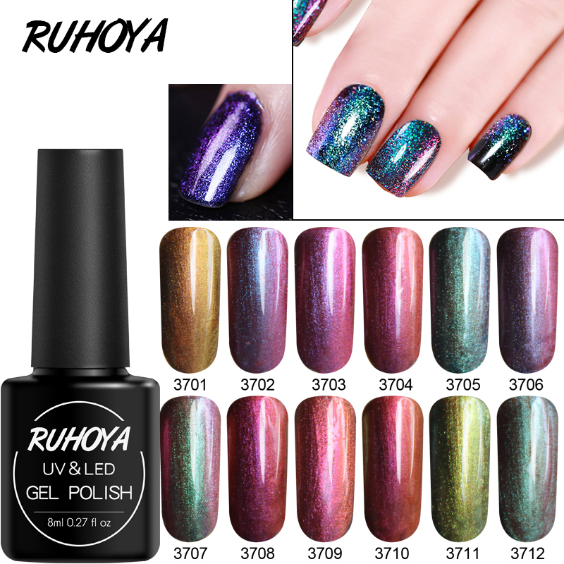 Ruhoya 8ml Chameleon Powder Mirror Effect Nail Dipping System Without Lamp Cure Natural Dry Glitter Powder Shining Holographic