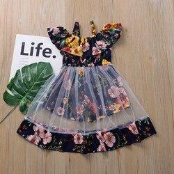Детское Сетчатое платье с цветочным рисунком, жилет с оборками, летняя одежда для маленьких девочек, 2021