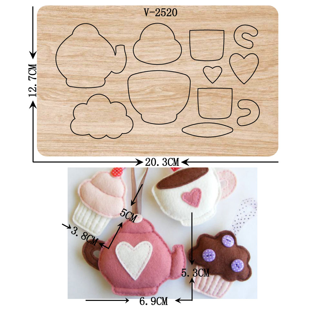 New Cup, teapot, ice cream, felt wooden dies cutting dies for scrapbooking Multiple sizes V-2520
