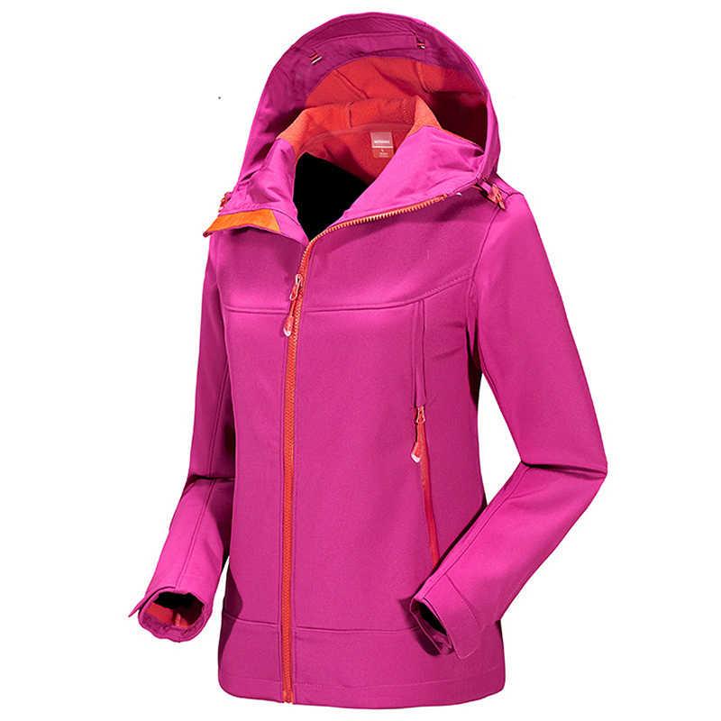 冬の女性のソフトシェルフリースウインドブレーカー屋外スポーツハイキングトレッキングキャンプスキー女性ジャケット
