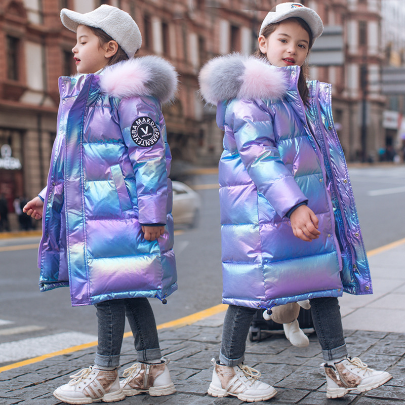 -30, для русской зимы, одежда для девочек и куртки для малышей; Водонепроницаемый пальто из натурального меха, зимняя куртка на утином пуху, од...