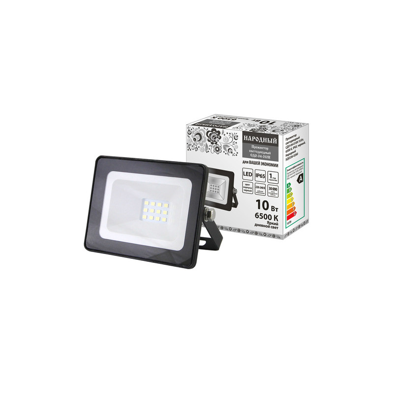 Floodlight Led сдо-04-010н 10w, 6500 K, IP65, Black, Folk Led