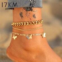 17km boêmio ouro borboleta corrente tornozeleiras conjunto para mulheres meninas moda multi-camada tornozeleira pé tornozelo pulseira praia jóias