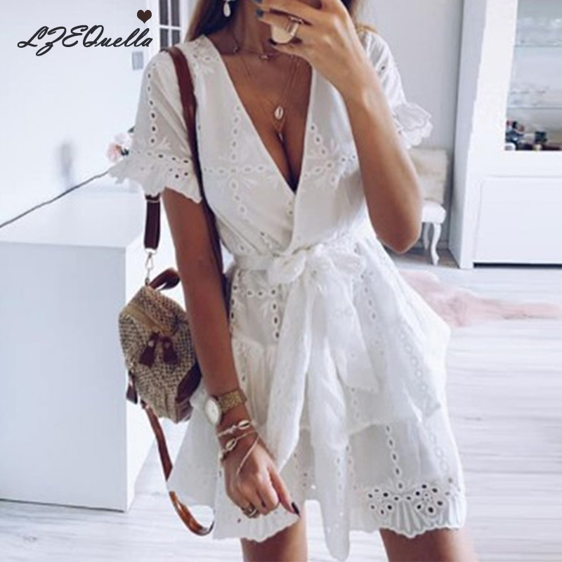 Women Lace Pleated <font><b>Dress</b></font> Short Sleeve A line High Waist Sashes <font><b>Dresses</b></font> <font><b>Sexy</b></font> <font><b>V</b></font> <font><b>neck</b></font> Hollow mini <font><b>Dresses</b></font> Vestidos NZ553 image