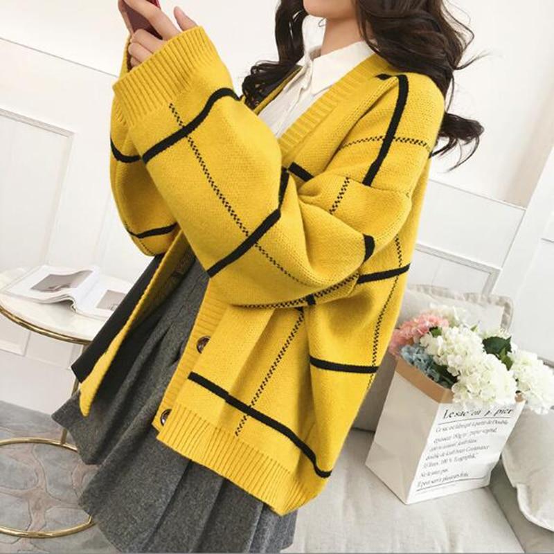 Lattice Cardigan Women  Yellow Sweter Black Young Fashion V Neck Short Knit Loose Korean Style Student Harajuku Trend Jacket