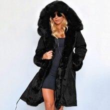 Модные осенние теплые зимние куртки, Женская длинная парка с меховым воротником, повседневное женское пальто с капюшоном, верхняя одежда