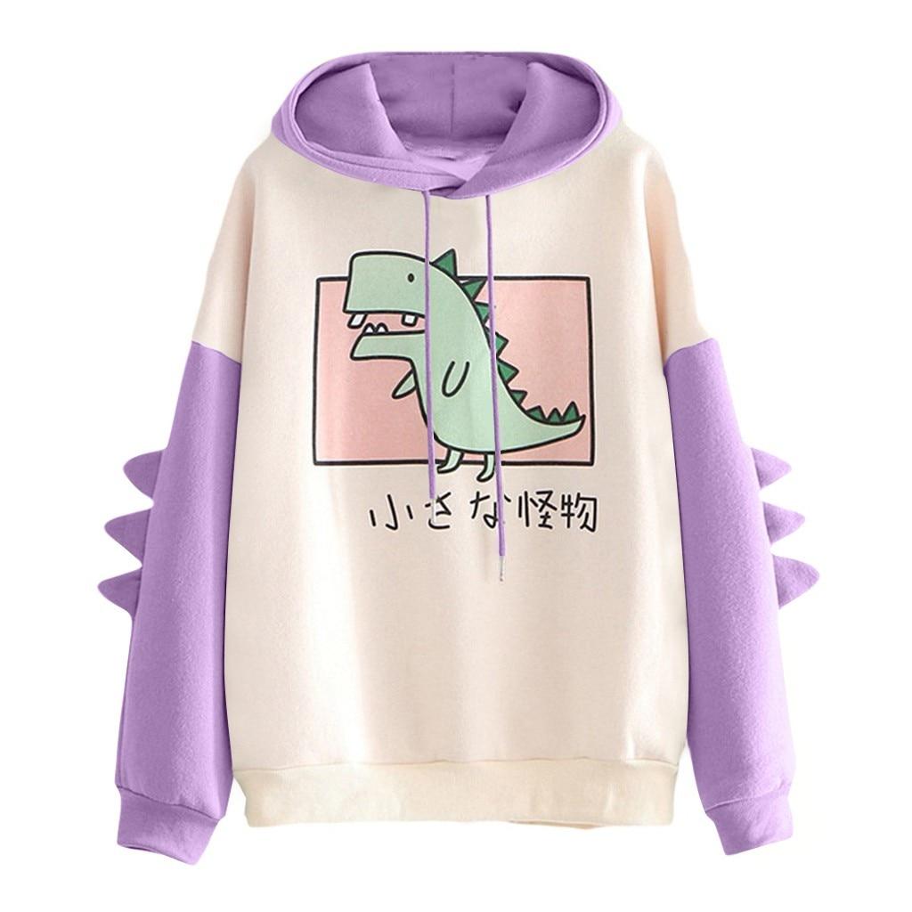 40#Hoodies Women Casual Cute Cartoon Dinosaur Print Long Sleeve Splice Dinosaur Sweatshirt Autumn Winter Warm Pullover Tops 10