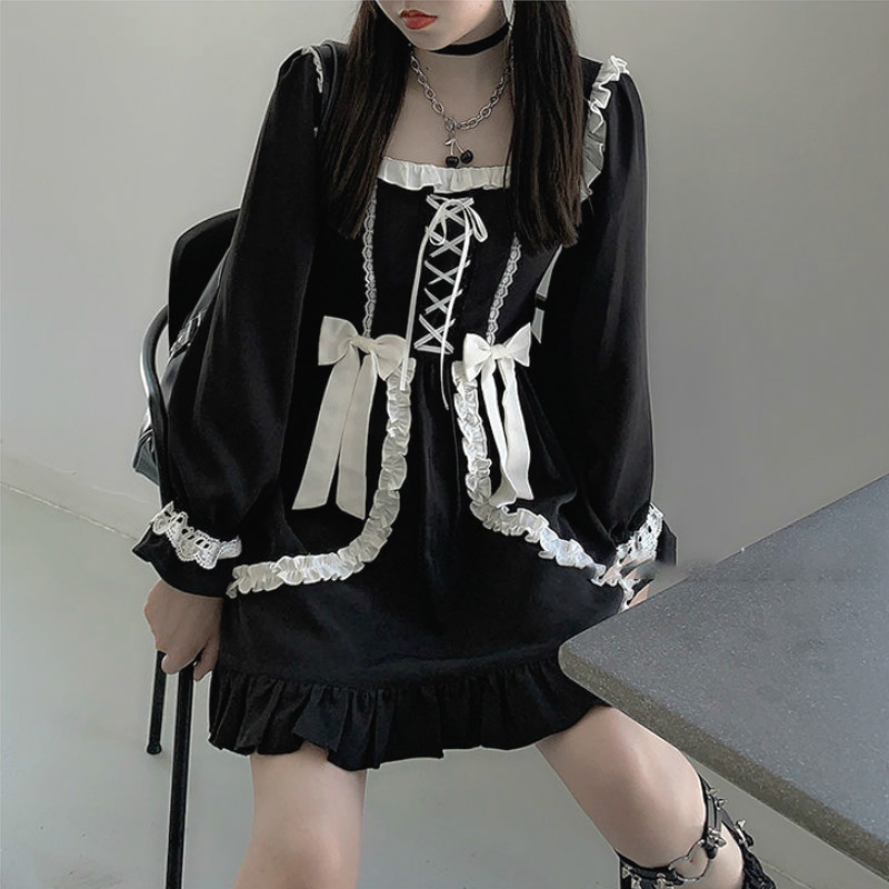 Japanese Lolita Gothic Dress Girl Patchwork Vintage Designer Mini Dress Japan Style Kawaii Clothes Fall Dresses for Women 2021