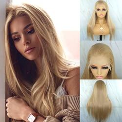 Hermosa diario largo recto 13x6 sintético pelucas delanteras de encaje rubio miel Futura pelo sintético peluca Frontal de encaje para las mujeres negras