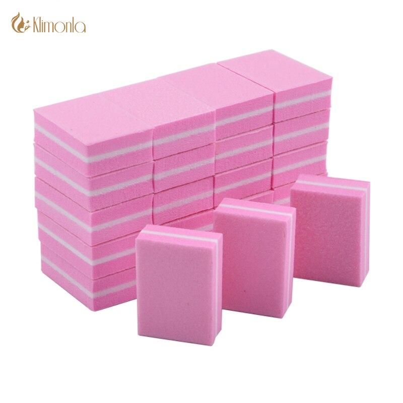 50Pcs/Lot Mini Nail File Block Square Sponge 100/180 Grit Pink UV Gel Varnish File Double-Sided lime a ongle Pedicure Nail Tools