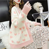 Pink Sweater Women 2020 Spring Knitted Cardigans Loose Jackets White Print Coats Autumn Sweet Cute Sweaters Feminina LR830 4