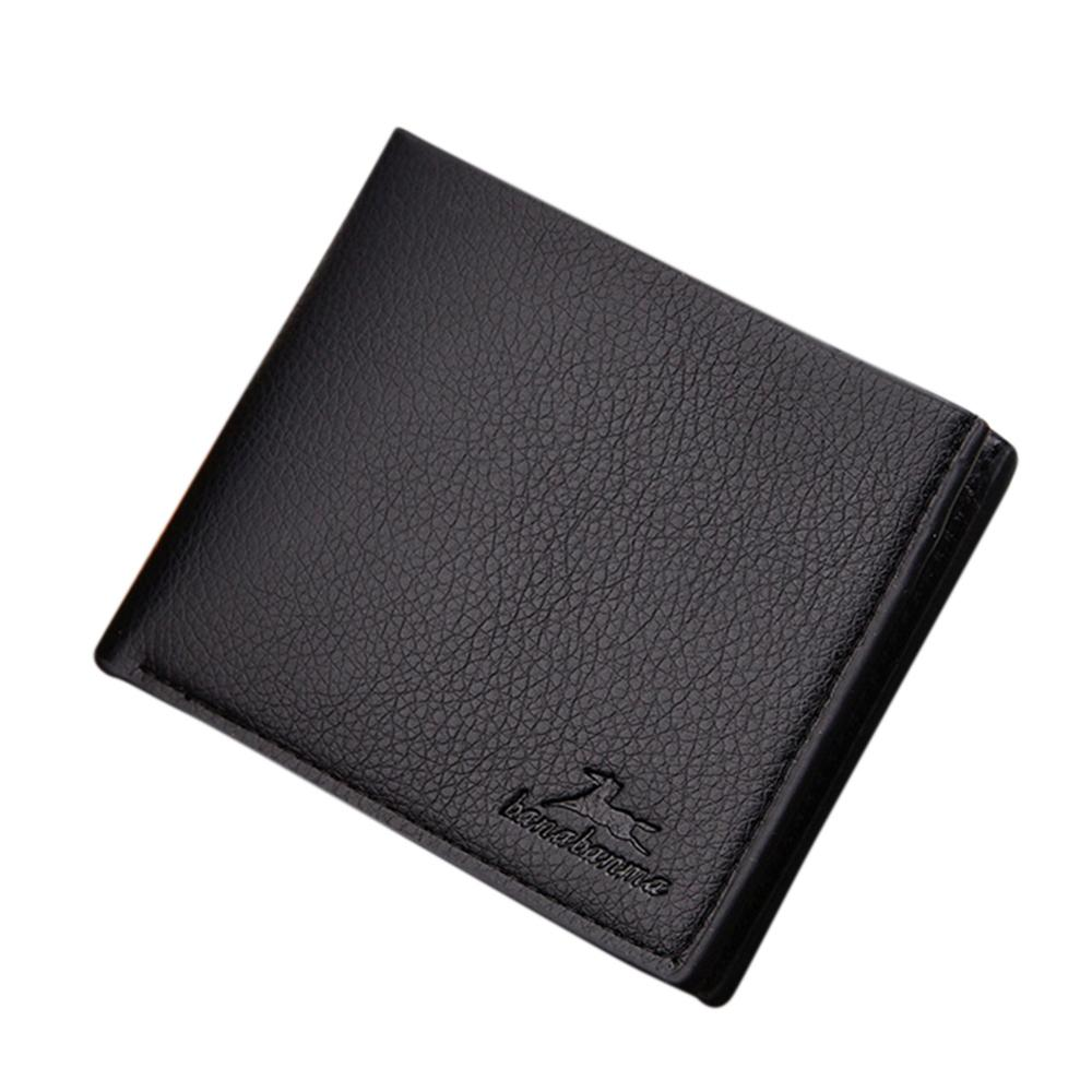 Fashion Men Wallet Wearable Concise PU Leather Multi Position High Quality Designer Purse Money Clip Boys Teens Gift