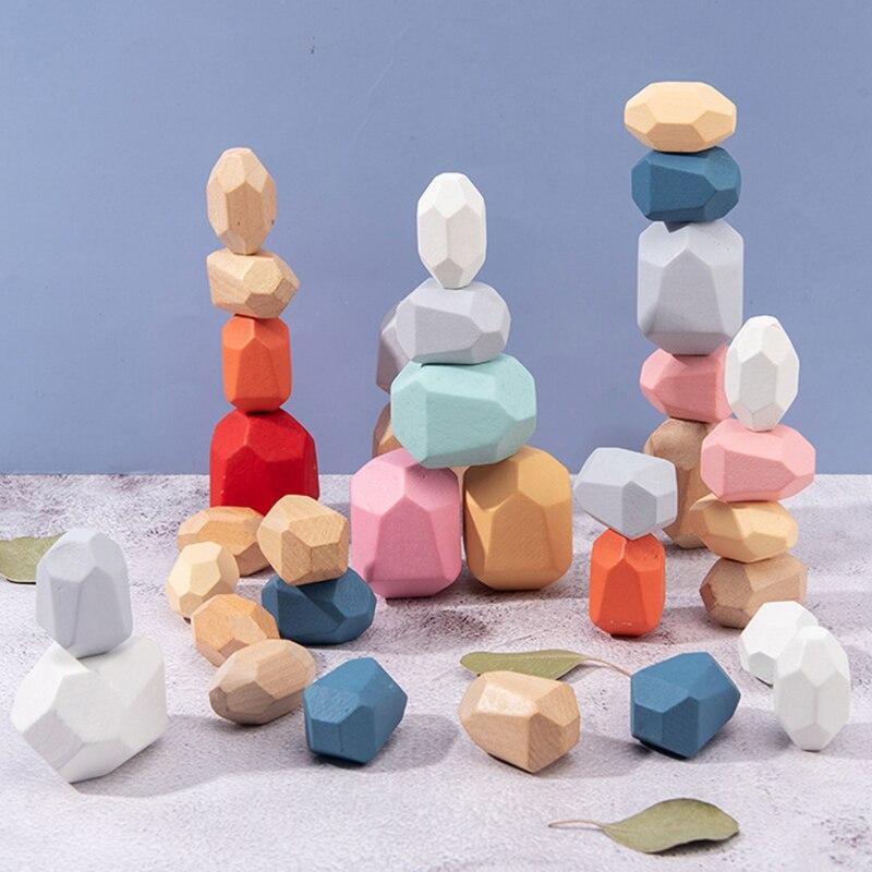 Tumi Ishi ahşap dengeleme yığılmış taşlar gökkuşağı seti renkli taşlar ahşap kayalar ahşap taşlar bebek yapı taşı Montessori oyuncaklar