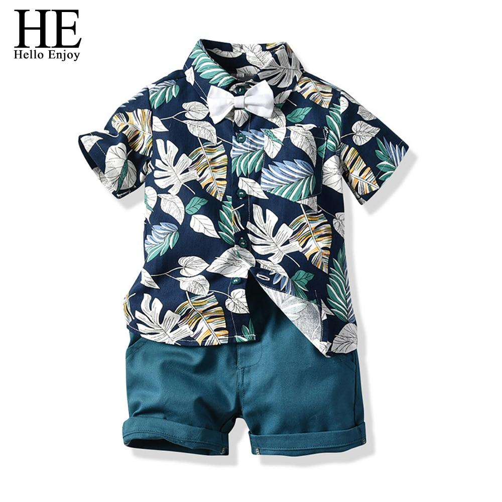 HE Hello Enjoy boys Clothing Sets Summer Fashion gentleman Bow Tie Print Shirt+Shorts kids Clothes Infantil Clothing Kidswear