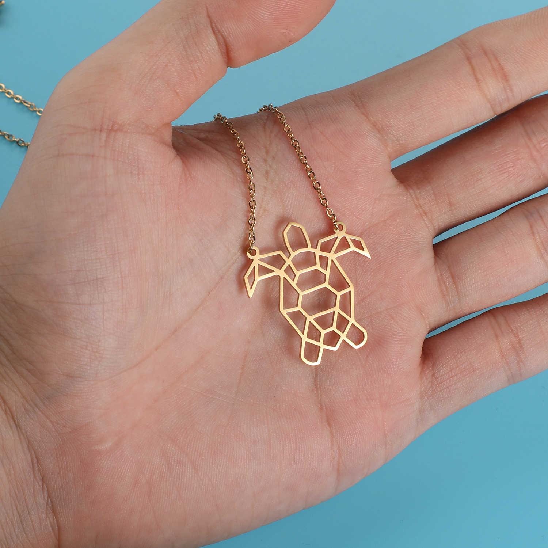 100% prawdziwe ze stali nierdzewnej pusta żółw morski naszyjnik unikalny biżuteria dla zwierząt naszyjnik Trend biżuteria naszyjniki włochy projekt
