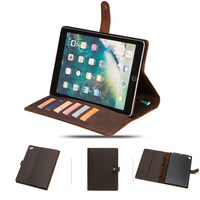 For iPad 9.7 Inch Case Tablet Case Crazy Horse Leather Multi Cards Pen Holder Folding Stand Tablet Case with Buckle For iPad 9.7