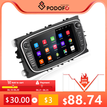 Podofo Android 2 Din Car Radio Multimedia MP5 Player 7 Autoradio GPS For Ford/Focus/S Max/Mondeo 2 4/Galaxy Cassette Recorder